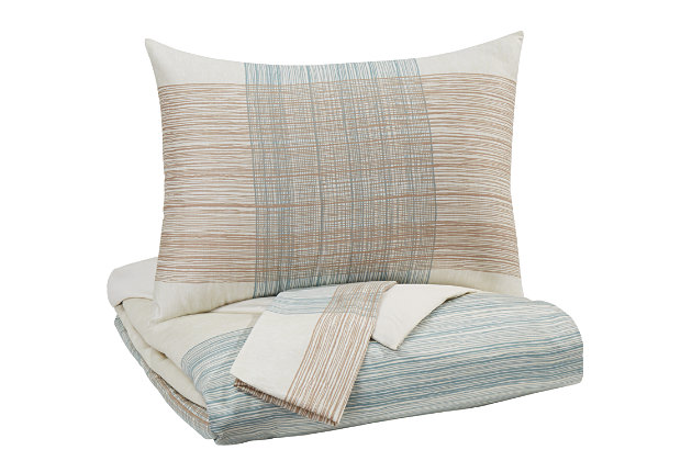 Jenae 3-Piece King Coverlet Set, Blue/Brown, large