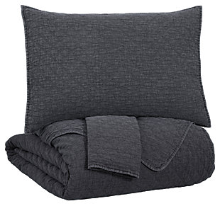 Ryter 3-Piece Queen Coverlet Set, Charcoal, large