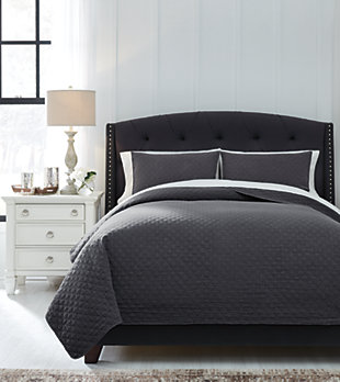 Ryter 3-Piece Queen Coverlet Set, Charcoal, rollover