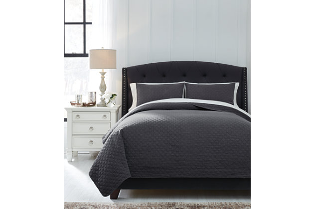 Ryter 3-Piece King Coverlet Set, Charcoal, large