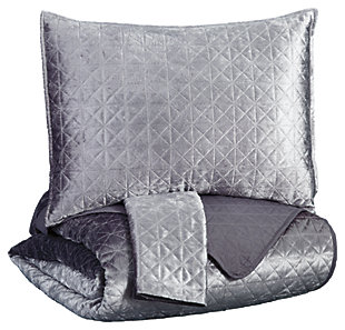 Maryam 3-Piece Queen Coverlet Set, Gray, large