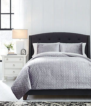 Maryam 3-Piece Queen Coverlet Set, Gray, rollover