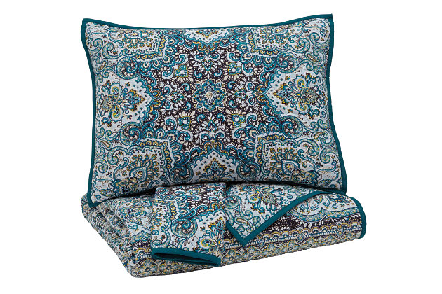 Myrtal 3-Piece Queen Quilt Set by Ashley HomeStore, Blue, Cotton (100 %)