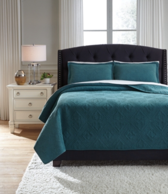 Queen Quilt Set Teal Piece Product Photo 3655