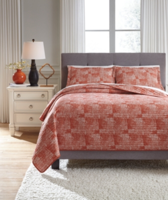 Jabesh 3-Piece King Quilt Set, Orange, large