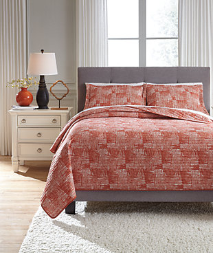 Jabesh 3-Piece Queen Quilt Set, Orange, rollover