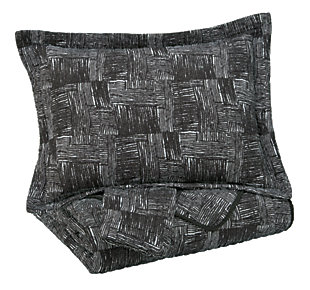 Jabesh 3-Piece Queen Quilt Set, Black, large