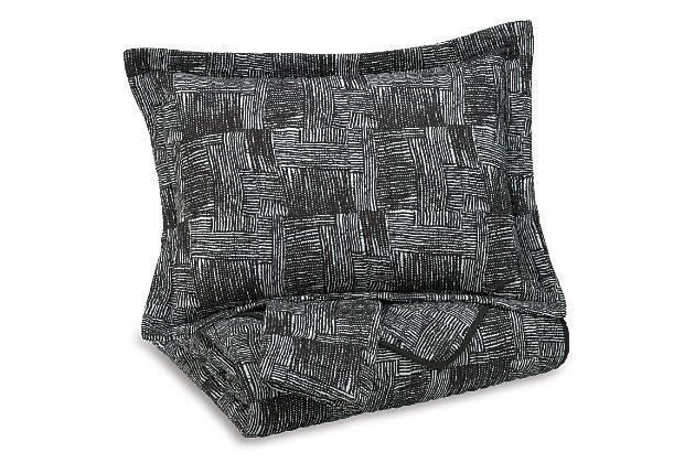 Jabesh 3-Piece Queen Quilt Set, Black, large