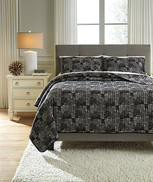 Jabesh 3-Piece Queen Quilt Set, Black, rollover
