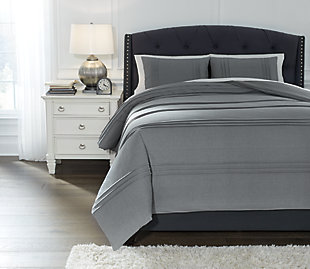 Mattias 3-Piece Queen Comforter Set, Gray, rollover