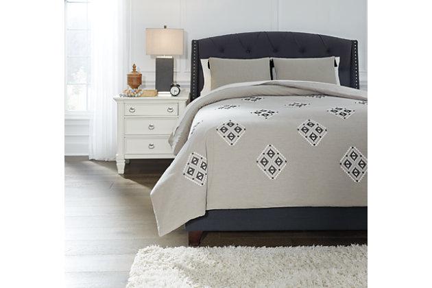 Jawanza 3-Piece Queen Comforter Set, Gray, large