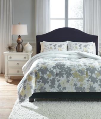 Ashley Maureen 3-Piece Queen Comforter Set, Gray/Yellow