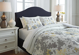 Maureen 3-Piece Queen Comforter Set, Gray/Yellow, large