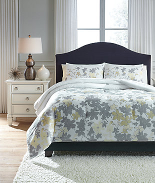 Maureen 3-Piece Queen Comforter Set, Gray/Yellow, rollover