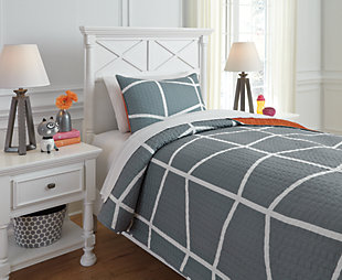Gage 2-Piece Twin Coverlet Set, Gray/Orange, rollover