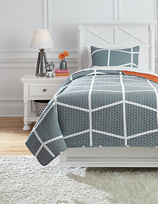 Gage 2-Piece Twin Coverlet Set, Gray/Orange, large