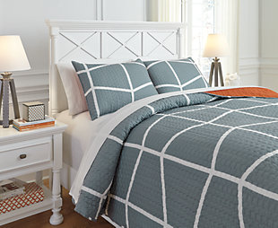 Gage 3-Piece Full Coverlet Set, Gray/Orange, rollover