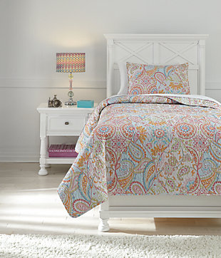 Jessamine 2-Piece Twin Coverlet Set, Pink/Orange, rollover