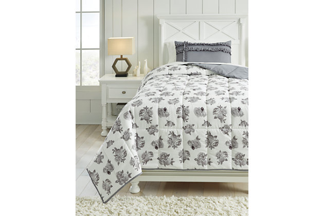 Meghdad 2-Piece Twin Comforter Set, Gray/White, large
