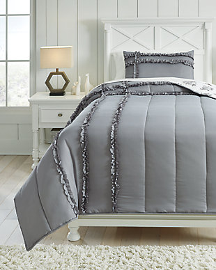 Meghdad 2-Piece Twin Comforter Set, Gray/White, rollover