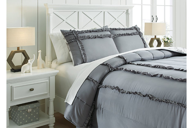Meghdad 3-Piece Full Comforter Set, Gray/White, large