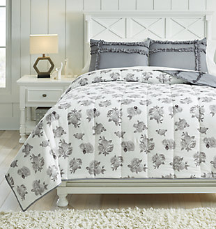 Meghdad 3-Piece Full Comforter Set, Gray/White, rollover