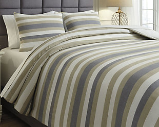Isaiah 3-Piece Queen Comforter Set, Gray/Tan, rollover