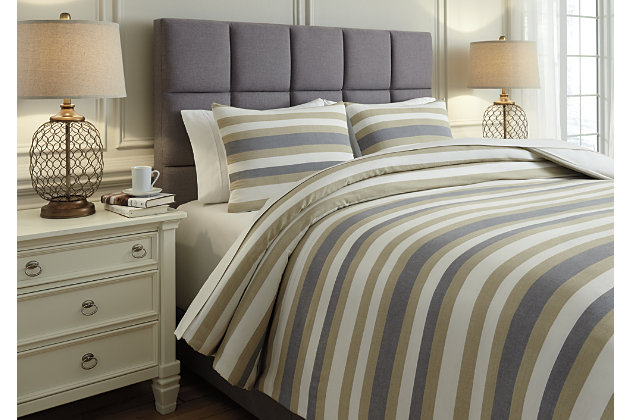 Isaiah 3-Piece Queen Comforter Set, Gray/Tan, large