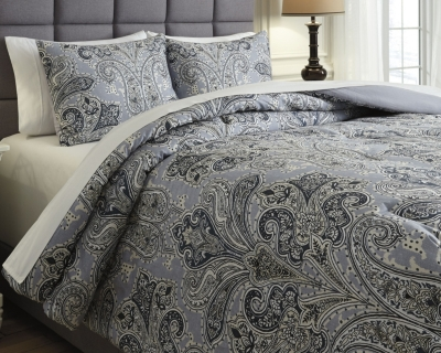 Ashley Susannah 3-Piece King Comforter Set, Blue/Cream