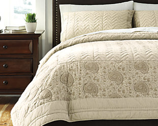 Paisley 3-Piece Queen Quilt Set, Natural, rollover