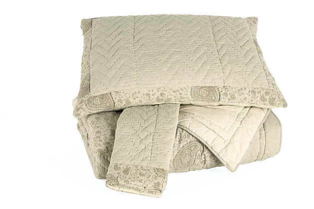 Paisley 3-Piece Queen Quilt Set, Natural, large