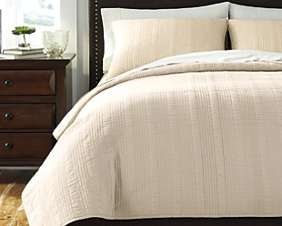 Coverlet 3-Piece Queen Coverlet Set, Beige, rollover