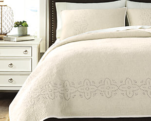Stitched 3-Piece Queen Quilt Set, Off White, rollover