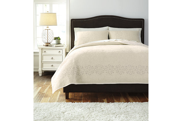 Stitched 3-Piece Queen Quilt Set, Off White, large