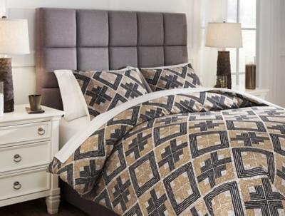 Scylla 3-Piece Queen Comforter Set, Brown/Black, large