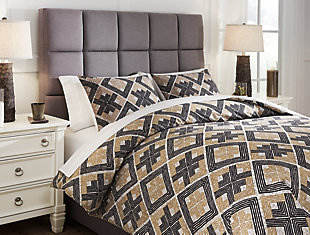 Scylla 3-Piece Queen Comforter Set, Brown/Black, rollover