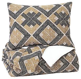 Scylla 3-Piece King Comforter Set, Brown/Black, large