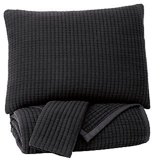 Thornam 3-Piece Queen Coverlet Set, Black, large