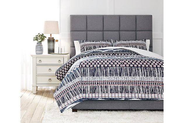 Shilliam 3-Piece Queen Comforter Set, Navy/Rust, large