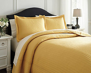 Raleda 3-Piece Queen Coverlet Set, Yellow, rollover