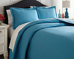Raleda 3-Piece Queen Coverlet Set, Turquoise, rollover