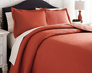 Raleda 3-Piece Queen Coverlet Set, Orange, rollover