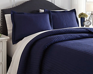 Raleda 3-Piece Queen Coverlet Set, Navy, rollover