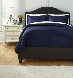 Raleda 3-Piece Queen Coverlet Set, Navy, large