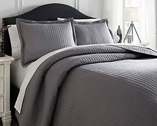 Raleda 3-Piece Queen Coverlet Set, Gray, rollover
