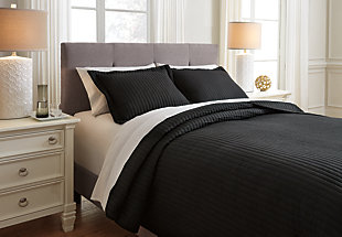 Raleda 3-Piece Queen Coverlet Set, Black, large