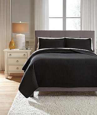 Raleda 3-Piece Queen Coverlet Set, Black, rollover