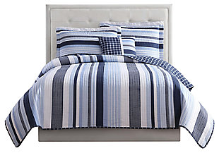 Striped Twin Quilt Set, Blue/White, large