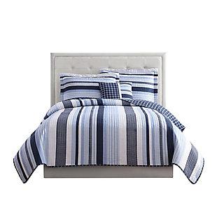 3 Piece Twin Quilt Set, Blue/White, large