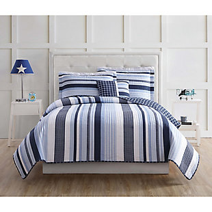 Striped Twin Quilt Set, Blue/White, rollover